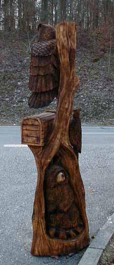 Holzfigur eulenbaum mit briefkasten owltree with mailbox
