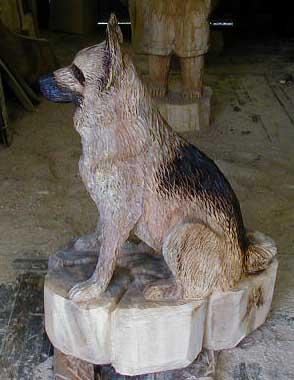 Sch 228 Ferhund German Shepherd Hund Dog Kettens 228 Gen Motors 228 Gen Holz Figuren Holger Baer Chainsaw Artist Baerart Skulpturen Und Totems Holger B 228 R